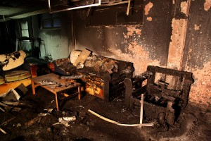 The basement of Drake Hall at the University of Wisconsin-La Crosse.  This fire shut down the residence hall for an entire semester, displacing 271 students.