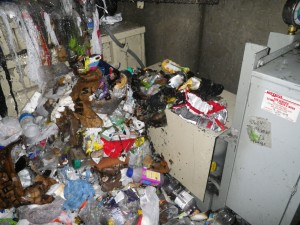 The trash chute in this 10-story residence hall at Portland State University in Oregon backed up from the basement to the second floor.  Fortunately, an automatic fire sprinkler in the chute put out the fire that was started by a cigarette.
